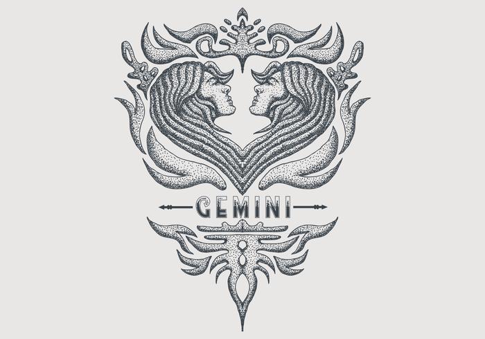 vintage gemini zodiac sign