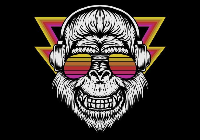 retro gorilla wearing headphones vector