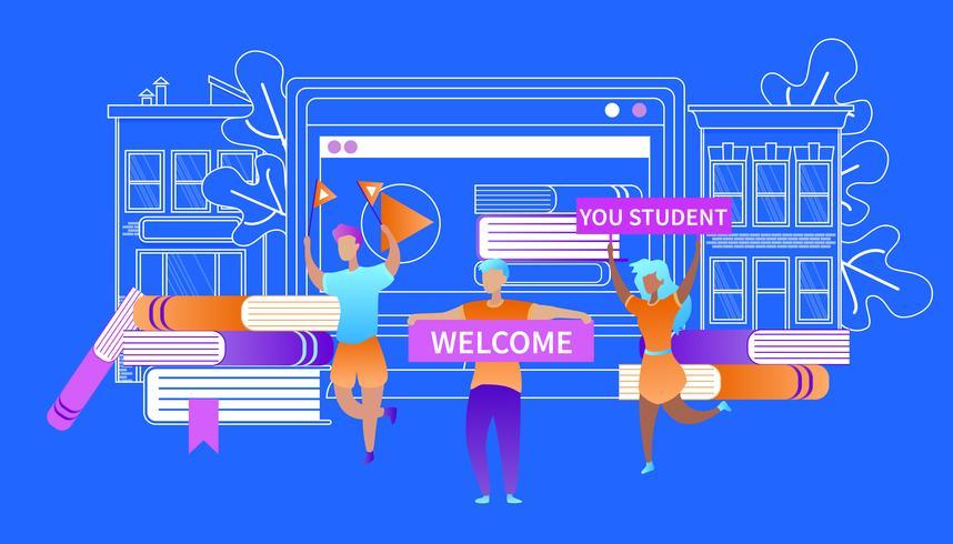 Willkommen Sie Student Glückliche Studenten treffen Anfänger