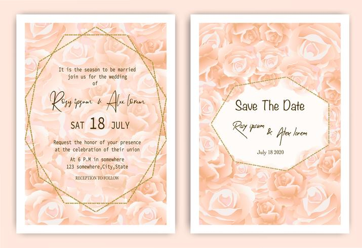 Rose wedding invitation card Floral hand drawn frame