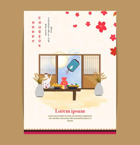 Chuseok oriental banner design.persimmon tree on full moon view background. vector