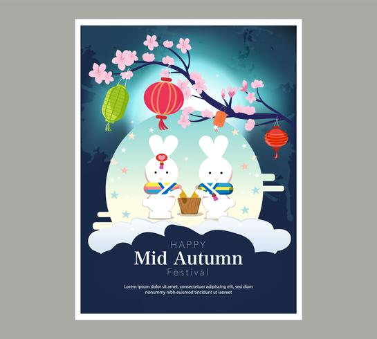 Chuseok banner design.persimmon tree on full moon view background. vector