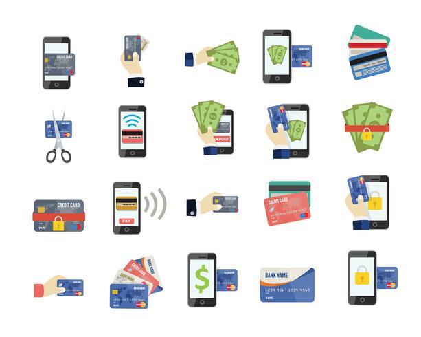 Iconos planos de tarjeta de crédito vector