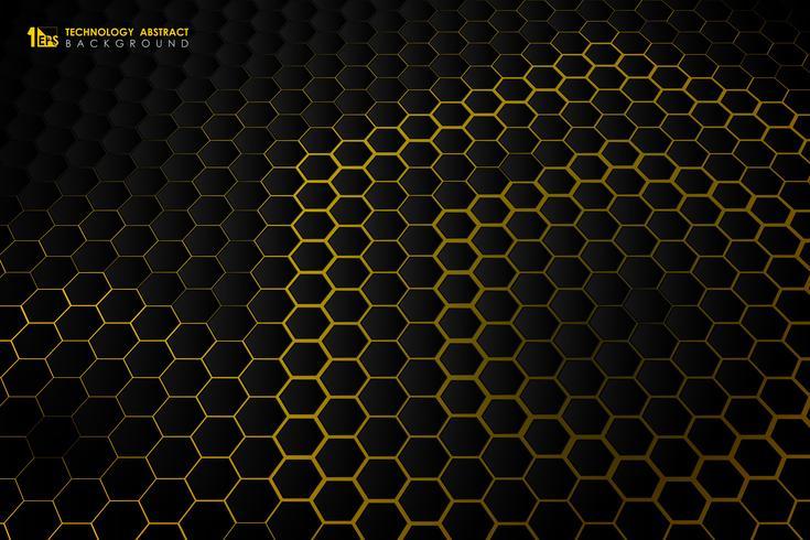 Patrón de gradiente de tecnología futurista hexagonal vector