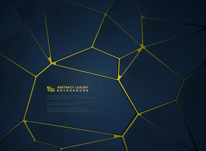 Luxury gold with gradient blue geometric design vector