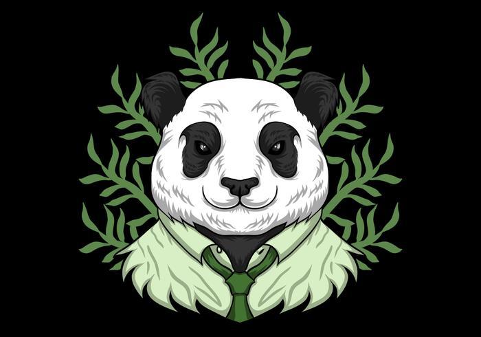 panda wearing work clothes vector