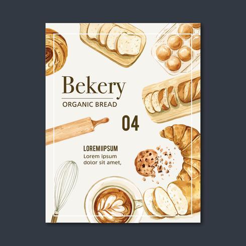 Colección de plantillas de carteles de panadería vector
