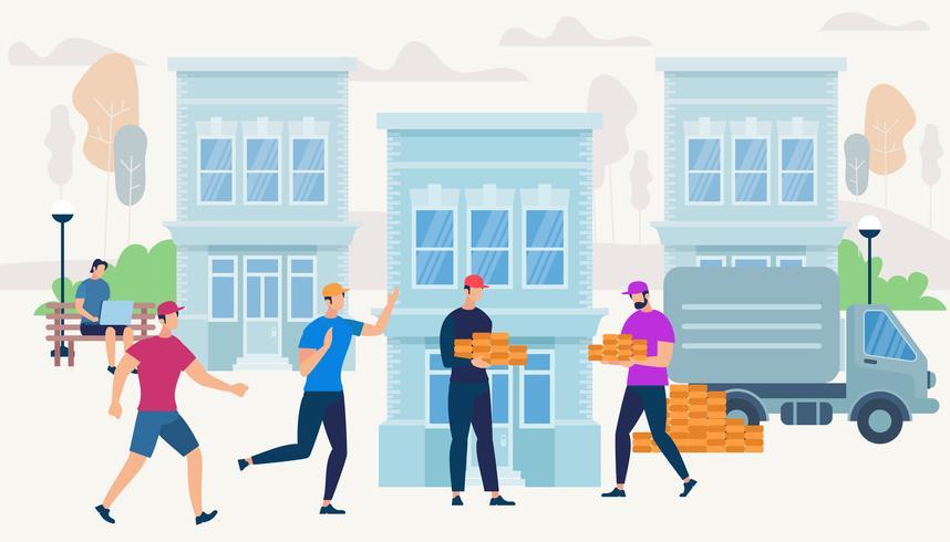 Los trabajadores traen ladrillos de Van Car para construir una casa vector