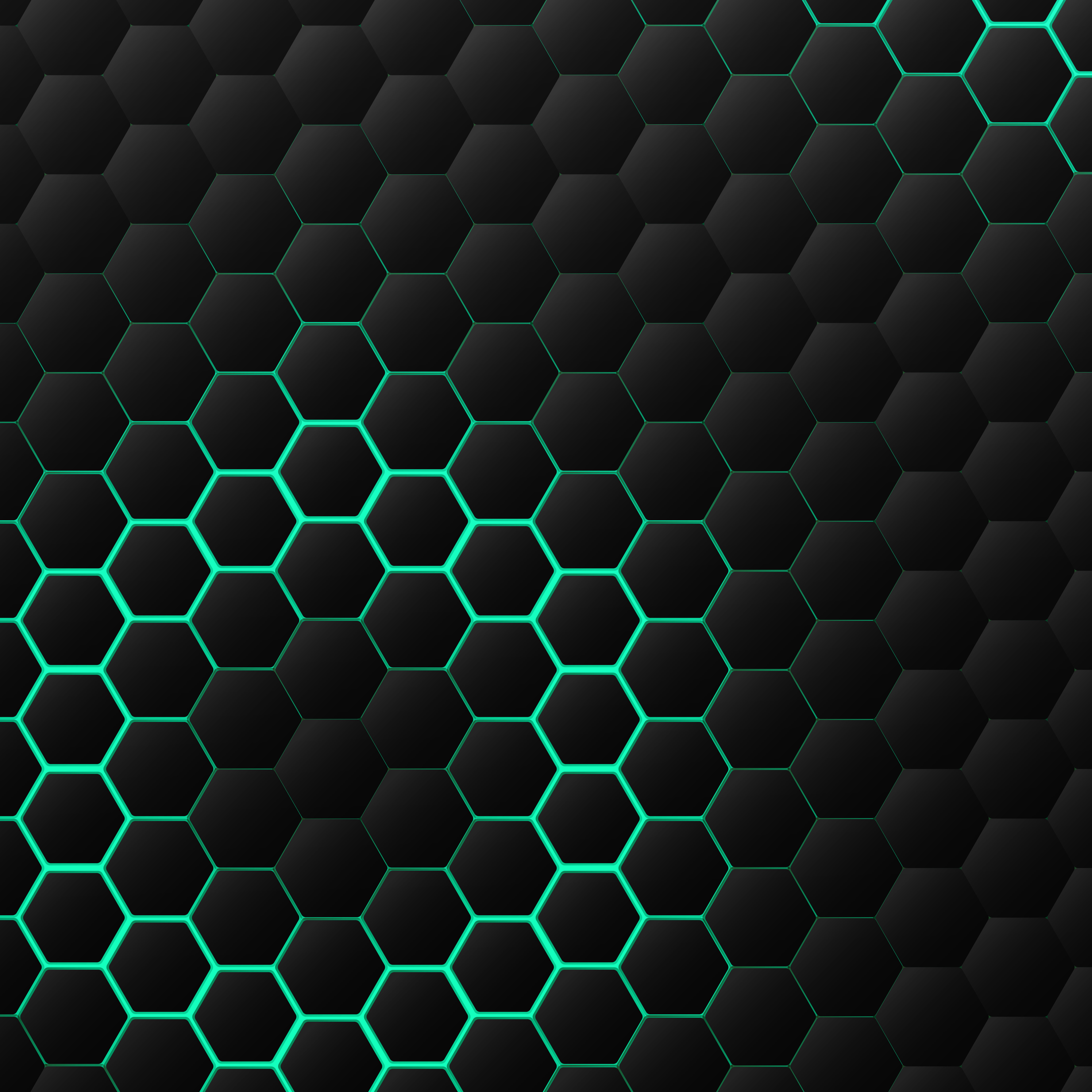 Black And Green Hexagonal Technology Pattern Design