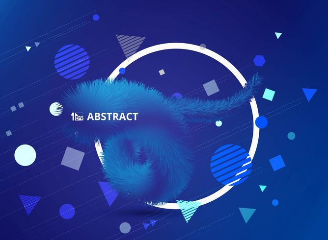 Plumas azules con diseño de formas geométricas. vector