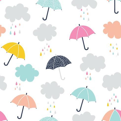 Patrón sin costuras lindo paraguas vector