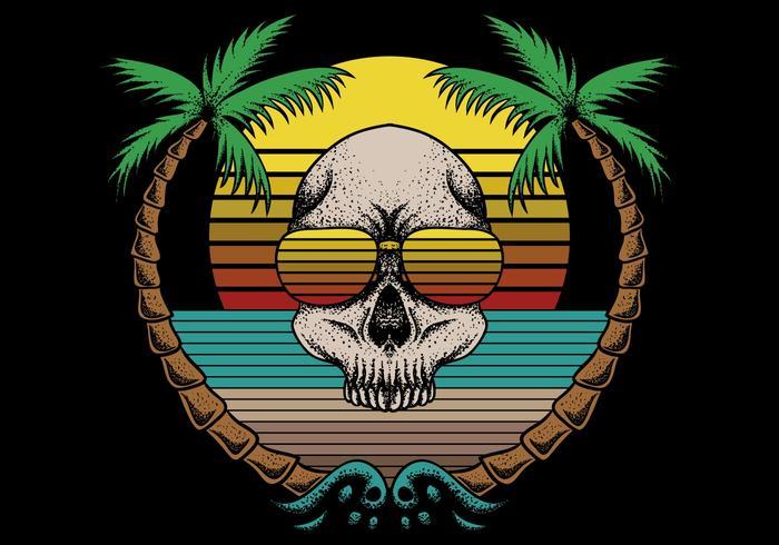 retro skull and beach scene