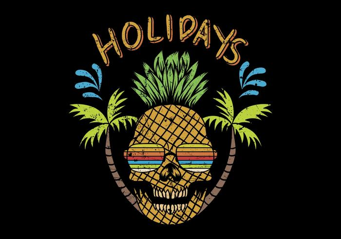 schedel ananas met vakantie tekst