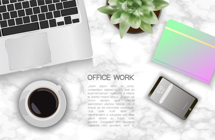 Top view workplace  vector