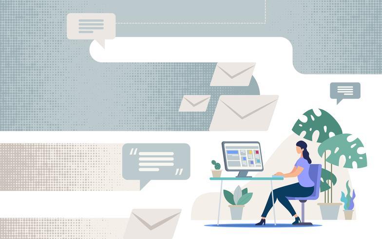 Online communicatie in het bedrijfsleven vector