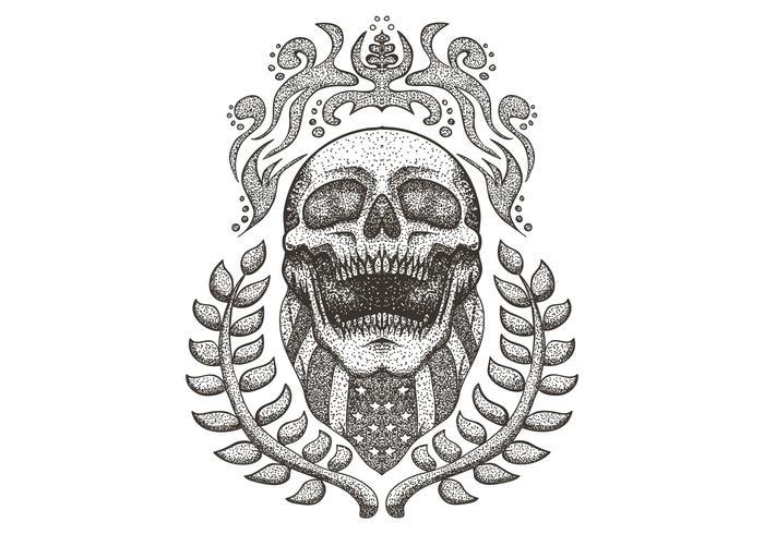Skull wearing USA flag bandana vector