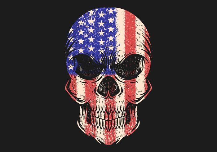 Skull with USA flag pattern vector