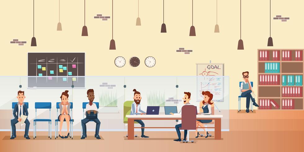 Empleado en cola Personas que trabajan por escritorio en la oficina vector