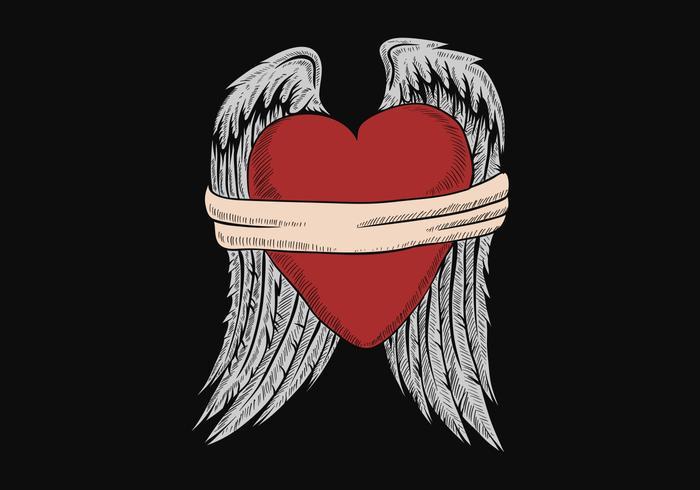 gebundenes Herz mit Flügeln