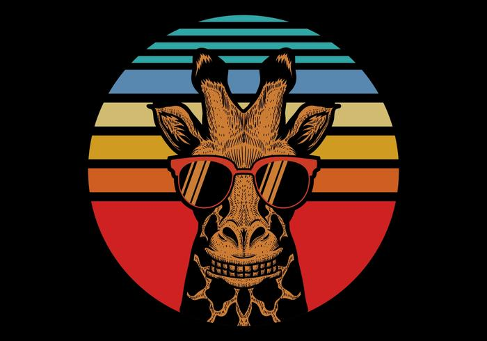 Giraffe vor Retro Sonnenuntergang