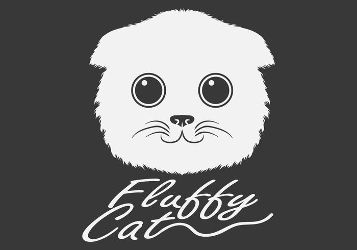 cabeza de gato blanco esponjoso vector