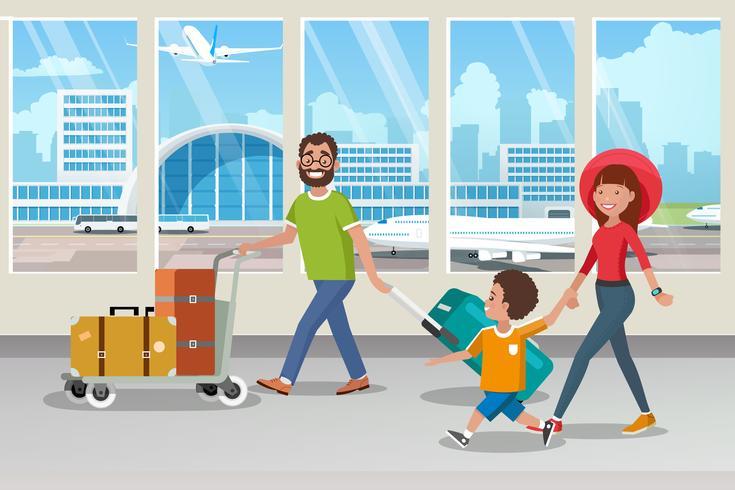 Família feliz, carregando bagagem no aeroporto