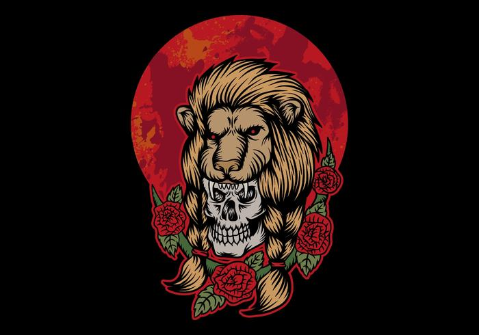 skull wearing lion head in front of red moon
