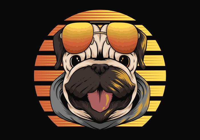 pug dog in front of retro sunset