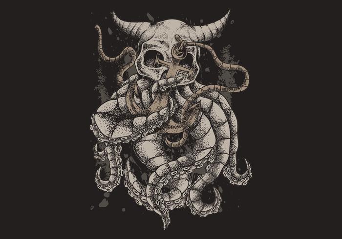 Cranio kraken con l'illustrazione di vettore dell'ancora