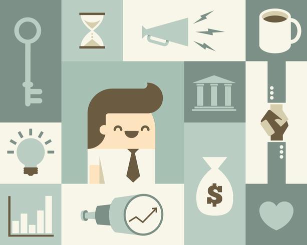 Hombre de negocios y los iconos de negocios relacionados vector