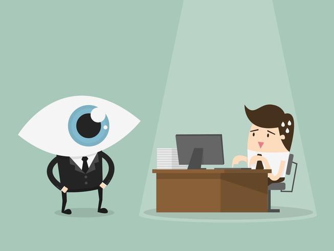 Ispettore che guarda lavoro dell'uomo d'affari