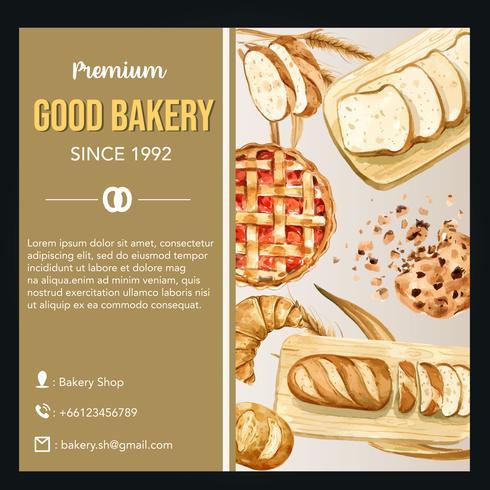 Modèle de média social de boulangerie