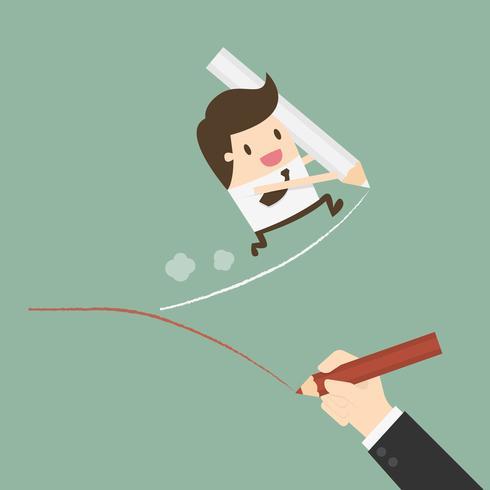 Homem de negócios, desenhando seu caminho para o sucesso vetor
