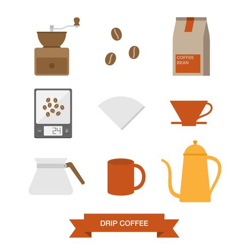 Drip coffee icon set vector