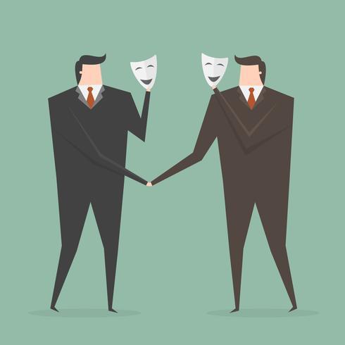 Geschäftsleute, welche die Hände sich verstecken hinter Maske rütteln