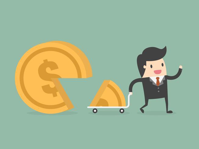 Hombre de negocios tomando parte del dinero vector