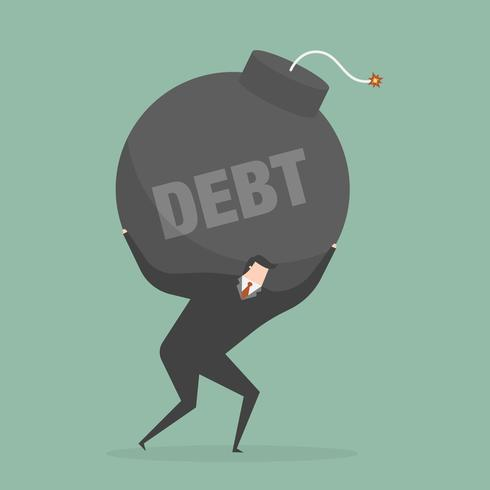 Hombre de negocios con bola de cañón de deuda sobre sus hombros vector
