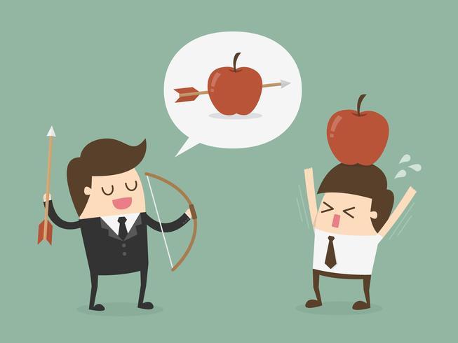 Uomo d'affari che spara alla mela dalla testa di un altro uomo