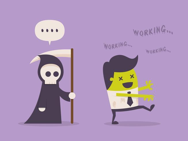 Workaholic zakenman veranderd in zombie
