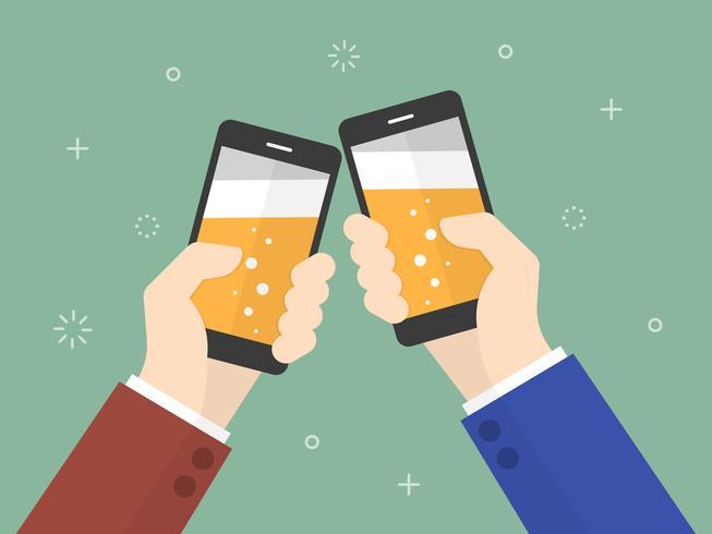 Affärsfolk som rymmer smartphonen med öl på skärmen