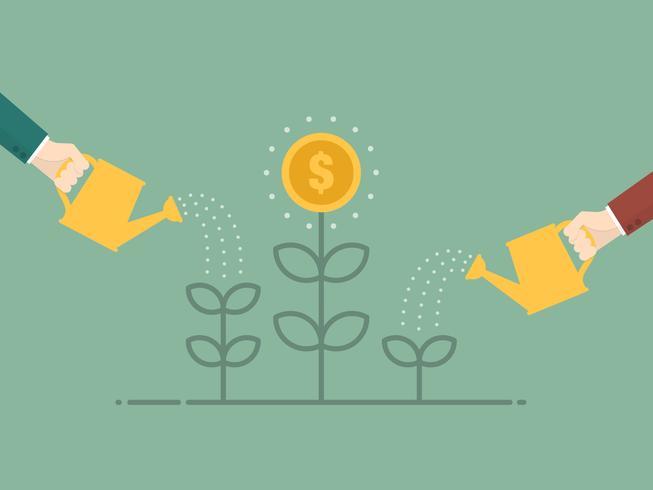 Gente di affari che innaffia l'albero dei soldi