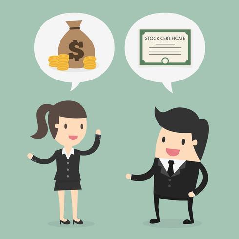 Hombre y mujer de negocios hablando de acciones