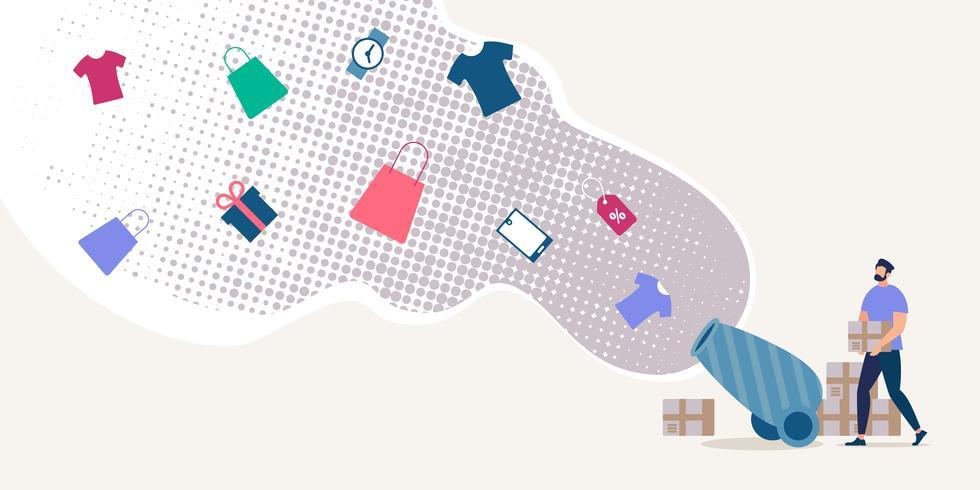 Hacer compras en concepto de Vector plano de venta de tienda
