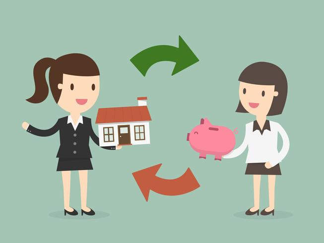 Dos mujeres intercambian dinero y casa vector