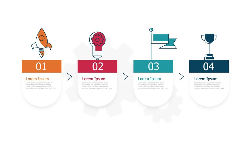 horizontal timeline infographics 4 steps for business vector