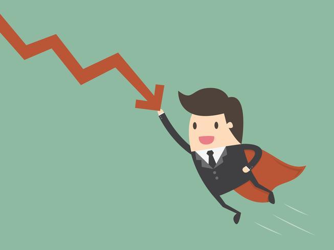 Super zakenman stoppen vallende grafiek
