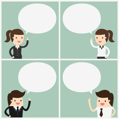 Business people with speech bubbles set vector