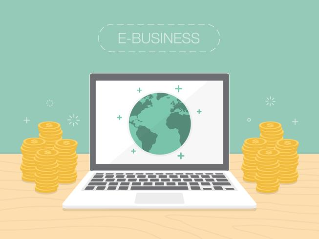 E-Business concept with money stacked around laptop vector