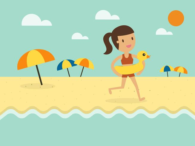 Woman running on the beach with floatie vector