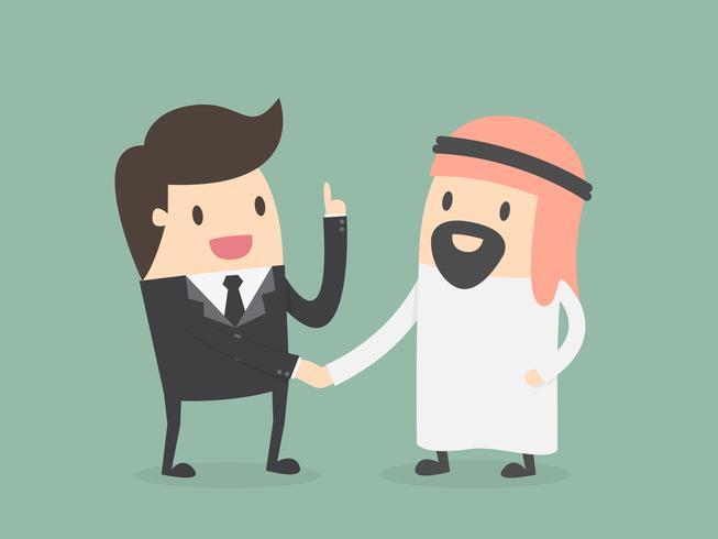 Um, árabe, pessoa, apertar mão, com, um, homem negócios